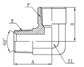 90 gráður American Adapter Teikning