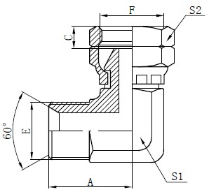 BSP Elbow Connector Teikning